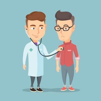 Doktor, der auf kasten des patienten hört.