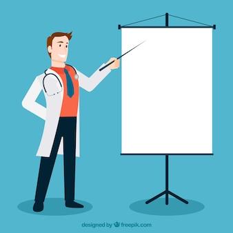 Doktor, der auf weiß zeigt