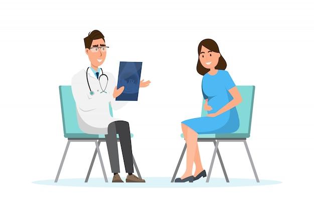 Doktor, der der schwangeren frau ultraschallblatt am krankenhaus zeigt