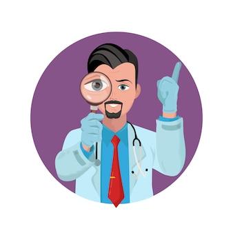 Doktor, der durch lupe sieht