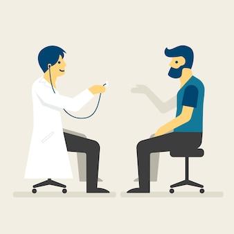 Doktor, der eine manngesundheitsillustration überprüft.