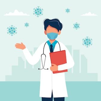 Doktor, der eine medizinische maske trägt
