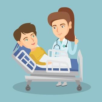 Doktor, der einen patienten in einem krankenhauszimmer besucht.
