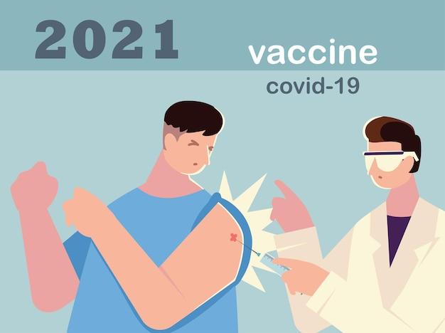 Doktor, der einen patienten injiziert, erste aufnahme der covid-impfstoffillustration erhält