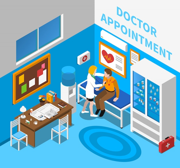 Doktor, der geduldiges isometrisches plakat überprüft
