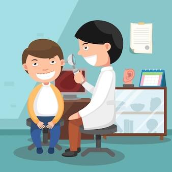 Doktor, der illustration der körperlichen untersuchung durchführt