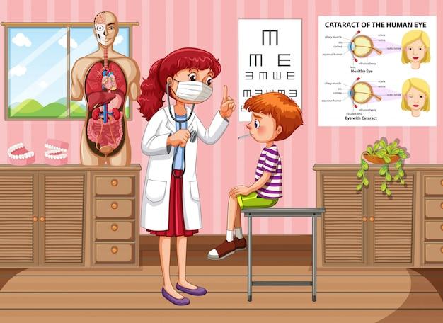 Doktor, der jungengesundheit in der klinik überprüft