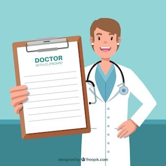 Doktor, der klemmbrett zeigt