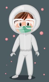 Doktor, der maske und schutzbrille mit virus in der luft trägt
