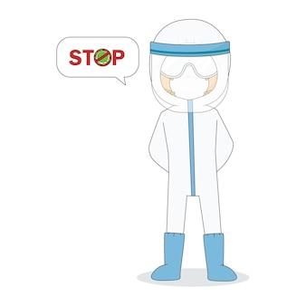 Doktor, der maske und schutzbrille mit virus trägt