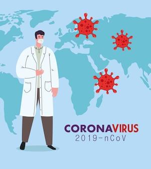 Doktor, der medizinische maske gegen coronavirus 2019 ncov mit weltkarte und partikeln trägt