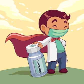 Doktor, der medizinische maske mit impfstoffkarikaturfigur trägt. covid-19 ausbruch medizinisches personal. illustration.
