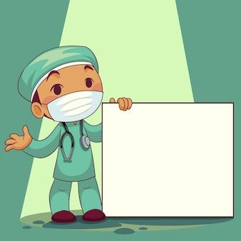 Doktor, der medizinische maske mit whiteboard-etikett-zeichentrickfigur trägt. covid-19 ausbruch medizinisches personal. illustration.