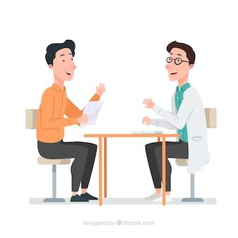 Doktor, der mit patienten spricht