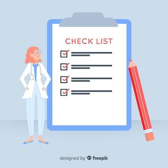 Doktor, der riesigen checklistenhintergrund überprüft