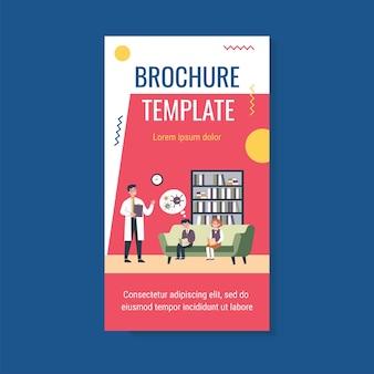 Doktor, der schulkindern über coronavirus-broschürenschablone erzählt Premium Vektoren