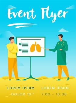 Doktor, der über lungen zur patientenfliegerschablone erzählt