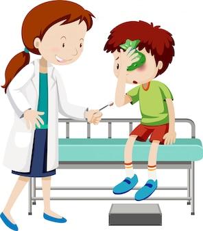 Doktor, der verletztem jungen hilft