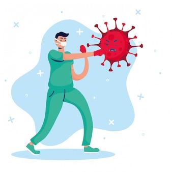 Doktor, der virus-comicfiguren bekämpft