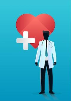 Doktor, der vor auf medizinischem zeichen der ersten hilfe auf rotem herzen steht