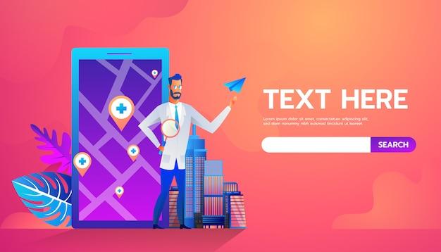 Doktor, der vor karte auf mobiler online-bewerbung steht