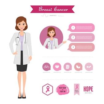 Doktor, der zum brustkrebskonzept sich darstellt. pink ribbon und abzeichen rosa farbe.