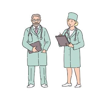 Doktor frau und mann in berufsuniform. illustration im strichgrafikstil auf weiß