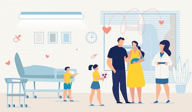 Doktor, glückliche familie und neugeborenes baby am bezirk