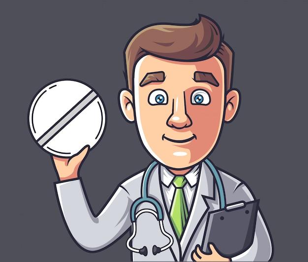 Doktor hält eine pille in seinen händen.
