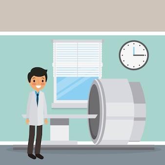 Doktor im mantel mit scan-maschinendiagnoseuhr- und -fensterszene