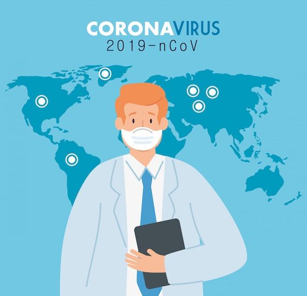 Doktor im poster des coronavirus 2019 ncov