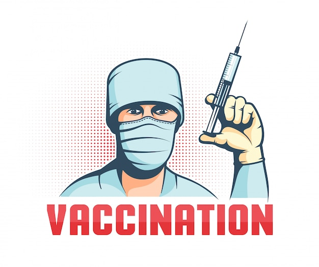 Doktor in maske mit spritze in der hand - retro-impfplakat