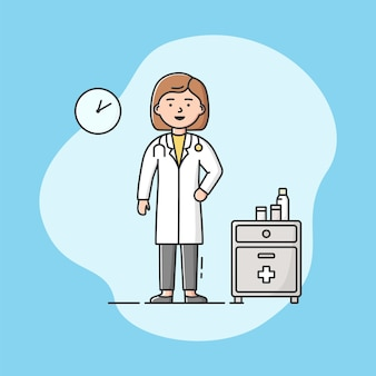 Doktor in uniform im büro. professioneller arbeiter. selbstbewusste frau an ihrem arbeitsplatz.