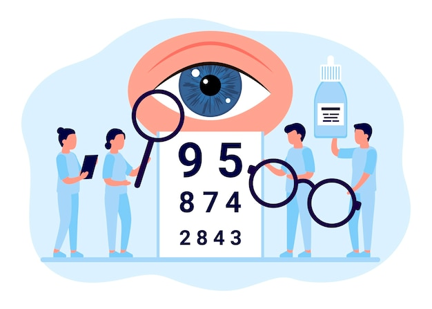 Doktor ist augenuntersuchung. untersuchung augen menschen, fokuskorrekturbehandlung. augenheilkunde. optiker, augenarzt, medizinisches personal mit brille, sehtest und augentropfen.