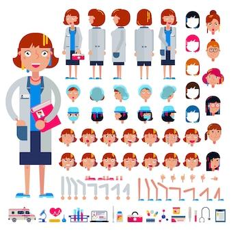 Doktor-konstruktor-vektorkonstruktion des weiblichen medizinischen charakterkopf- und -gesichts-emotionsillustrationssatzes des krankenhauspersonenkörpers mit handbeinbeinschöpfung lokalisiert auf weiß