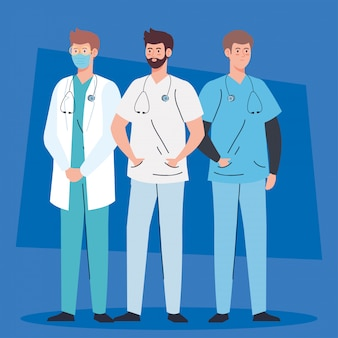 Doktor männer professionell, medizinisches personal des gesundheitskrankenhauses vektorillustration design