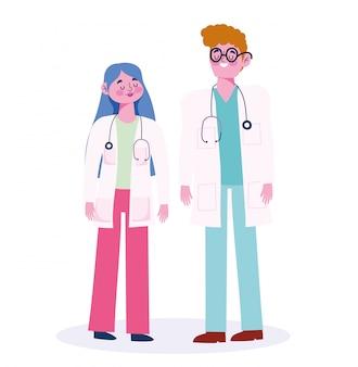 Doktor männlich und weiblich mit stethoskopberufsberufscharakter