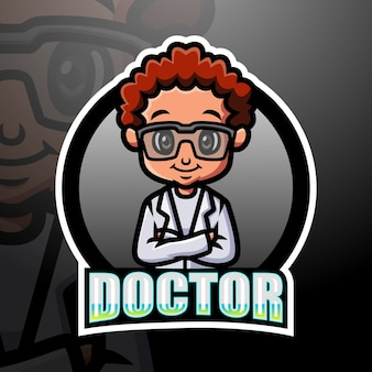 Doktor maskottchen esport illustration