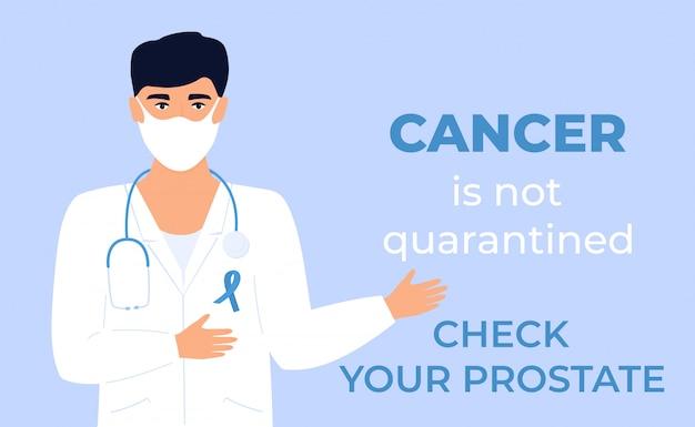 Doktor mit blauem band auf weißem medizinischem kleid und schutzmaske. prostatakrebs stoppen