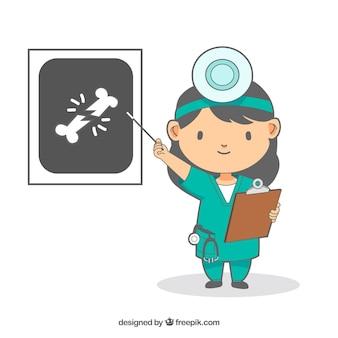 Doktor mit dem klemmbrett, das auf x-strahl zeigt