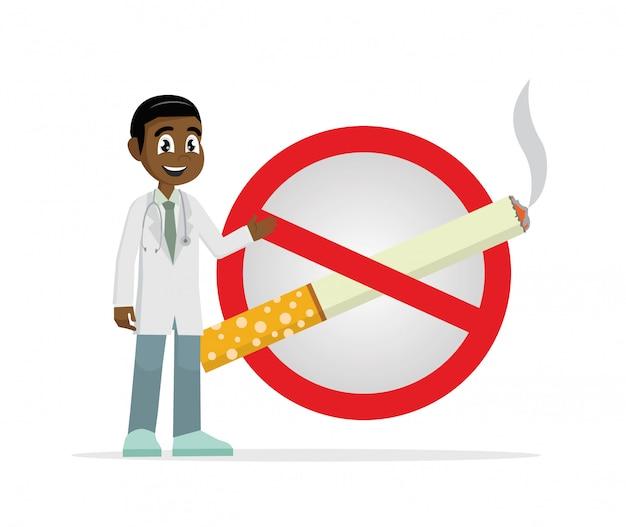 Doktor mit einem verbotenen zigarettenzeichen.