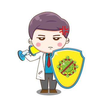 Doktor mit injektionsschwert und virenschild