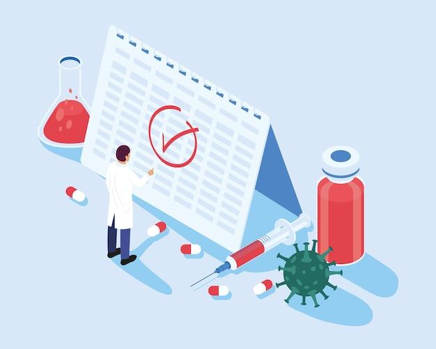 Doktor mit kalender und impfstoff isometrischen symbolen illustrationsdesign