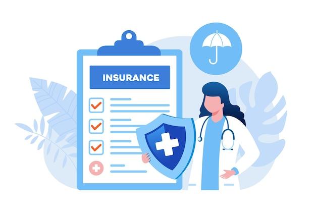 Doktor mit schild, flachem vektorillustrationsbanner des krankenversicherungskonzepts und landing page