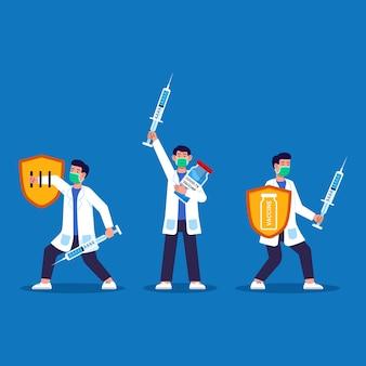 Doktor mit spritze bewaffnet, um ausbreitung der krankheit zu bekämpfen