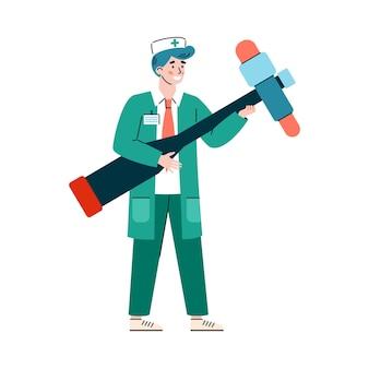 Doktor neurologe mit riesigem medizinischem reflexhammer eine vektorillustration
