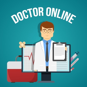 Doktor online-design mit freundlichen praktiker in computer und medizinischen objekten
