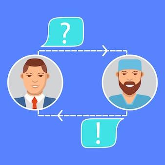 Doktor online-konzept charakter. kann für web-banner verwendet werden. online medizinische beratung. medizin und gesundheitswesen konzept.