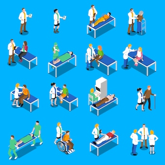 Doktor patient communication isometric icons set