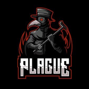 Doktor pest esportiert logo-design. illustration des maskottchens der arztpest